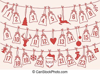 Advent calendar with Christmas bags, vector set - Advent...