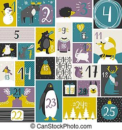 Advent calendar with forest animals