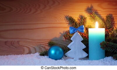 Advent candle and wood fir tree . Christmas background. -...