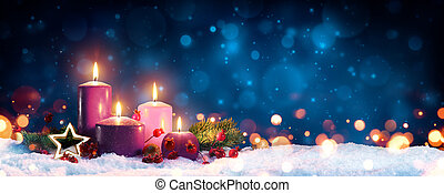 Advent Candles In Christmas Wreath - Three Purple And One ...