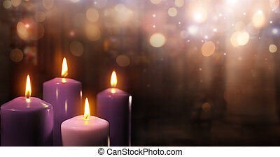 Advent Candles In Church - Three Purple And One Pink As A...