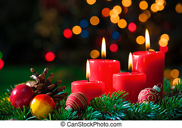 Advent candles - christmas background with four advent...