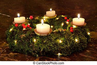 advent christmas wreath candles evening dark wood moss