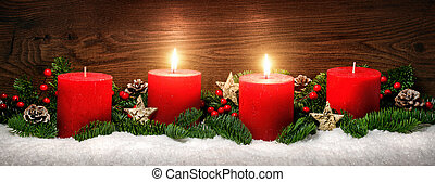 Advent decoration with two burning candles