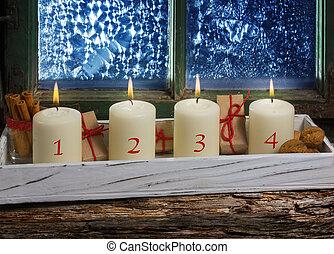 advent, dekoration, vier, kerzen, auf, fenster