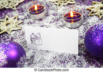 advent, dekorationen, mit, karte