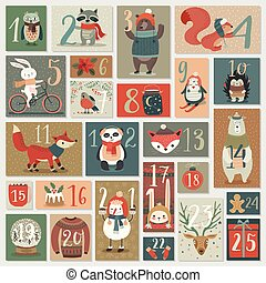 advent, jul, kalender, oavgjord, hand, style.