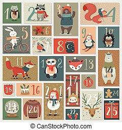 advent, kerstmis, kalender, getrokken, hand, style.
