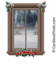 Advent-time - a festively decorated window with a winter...