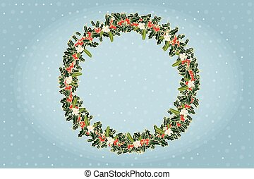 Advent wreath of mistletoe and holly above blue shimmering background