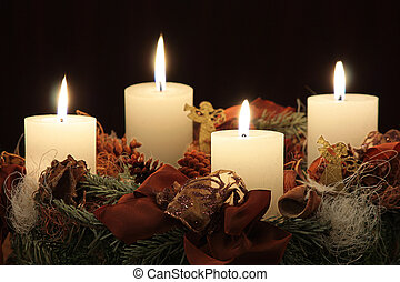 Advent wreath with four light candle