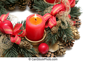 Advent wreath - Red advent wreath on a white background