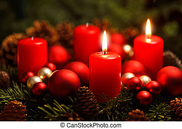 Advent wreath with 2 burning candles - Low-key studio shot ...