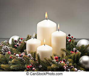 Advent wreath with burning candles for the pre Christmas ...