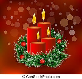 Advent wreath with burning candles on 4. Advent - Red Christmas candles with fir branches and ornaments - Golden bokeh lights - Xmas background
