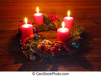 Advent wreath with four candles - Advent wreath of twigs...
