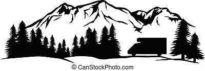 (adventure, キャンプ, design)., 風景, 山, 旅行, -, トラック, キャンパー