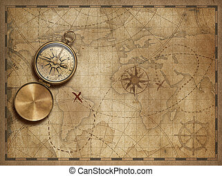 adventure and explore with old nautical world map 3d...