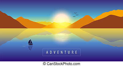 adventure autumn landscape background with lonely sailboat on a calm sea and mountain view at colorful sunset