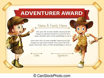 Adventure award with two children background