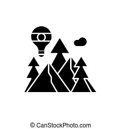 Adventure black icon, vector sign on isolated background. Adventure concept symbol, illustration