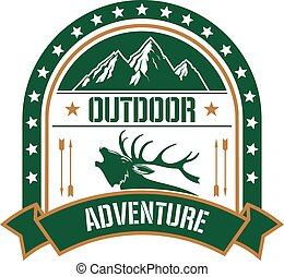 Adventure club badge design with deer and mountain
