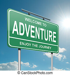 Illustration depicting a green roadsign with an adventure concept. Blue sky background.