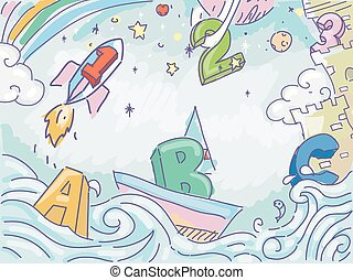Adventure Education - Illustration of Numbers and Letters in...