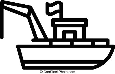 Adventure fishing boat icon, outline style