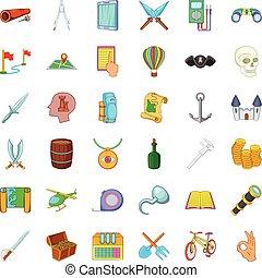Adventure icons set, cartoon style