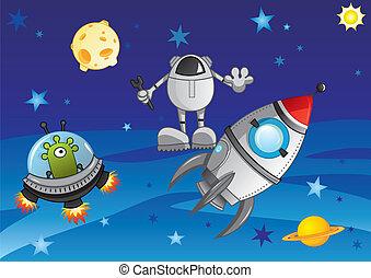 Adventure in cosmos - Alien in the spaceship meets astronaut