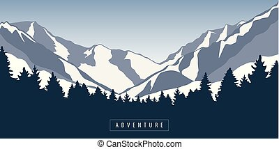 adventure in snowy mountain and forest nature landscape