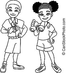 Adventure Kids Black Line Art
