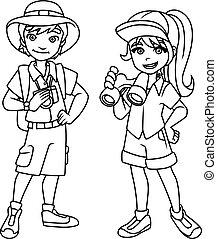 Adventure Kids Line Art