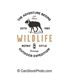 Adventure logo design. Camping adventures badge template. Wild goat typogaphy insignia concept. Vintage hand drawn silhouette shape of wild animal. Stock vector isolated on white background