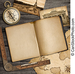 adventure nautical background with vintage map, copybook and compass