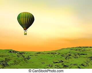 Adventure of freedom - 3D render - One colorful balloon...