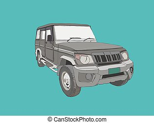 adventure off road car sketch vector.