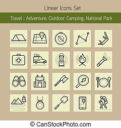 Adventure, Outdoor Camping, National Park, Line Icons Set