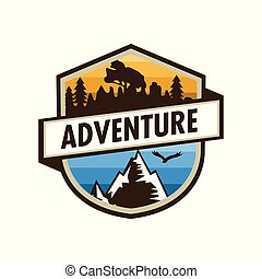 Adventure Outdoor Unique Shield Badge Design