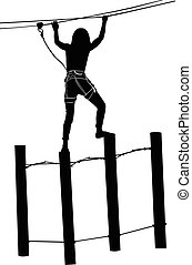 adventure park rope ladder. Woman o