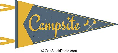 Adventure pennant. Campsite Pennant. Explorer flag design. Vintage camping template. Travel style pennant with summer camp symbols tent, trees. For Summer campsite or campground old style