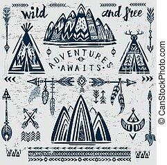 adventure., podróż, komplet, temat, wektor