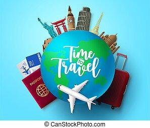 adventure., repère, vecteur, voyage, pays, globe, temps, mondiale, design., voyager, concept, voyage, vacances, tour, éléments, texte