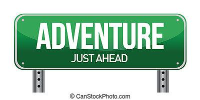 adventure road sign illustration design over a white...