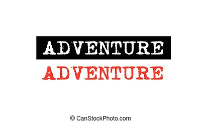 adventure rubber stamp badge with typewriter set text logo design