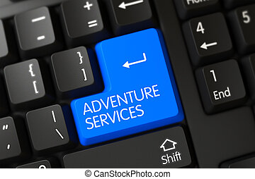 Adventure Services Close Up of Blue Keyboard Key. 3D.