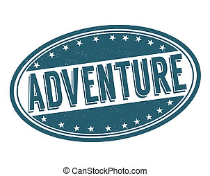 Adventure stamp - Adventure grunge rubber stamp on white,...