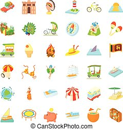 Adventure travel icons set, cartoon style