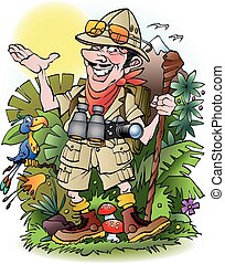 Adventure travelers man cartoon illustration drawing